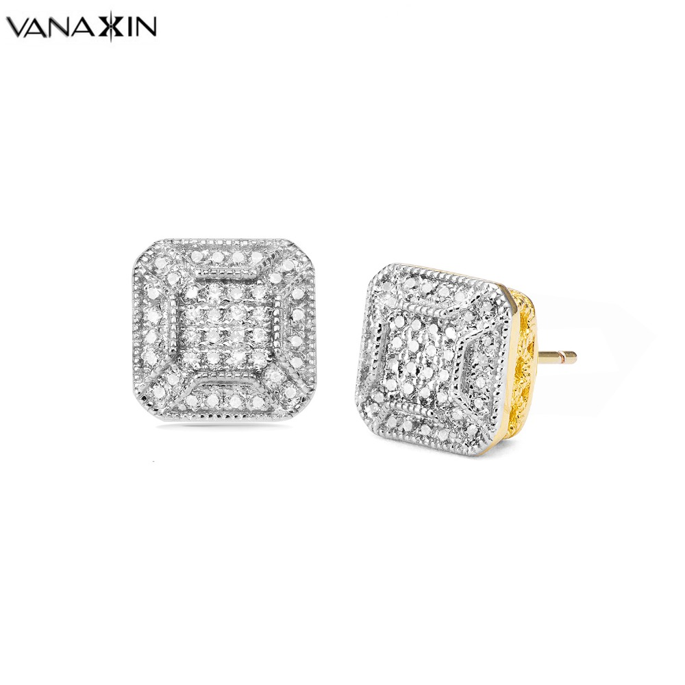 VANAXIN Earrings for Men Cut Layering Retro Design Iced Out Hip Hop AAA Cubic Zirconia Gold