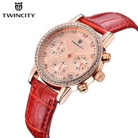 Twincity Chronograph Rhinestone Women Watch Ladies Quartz Leather Watch Girl Waterproof Fashion Genuine Six Pin Red