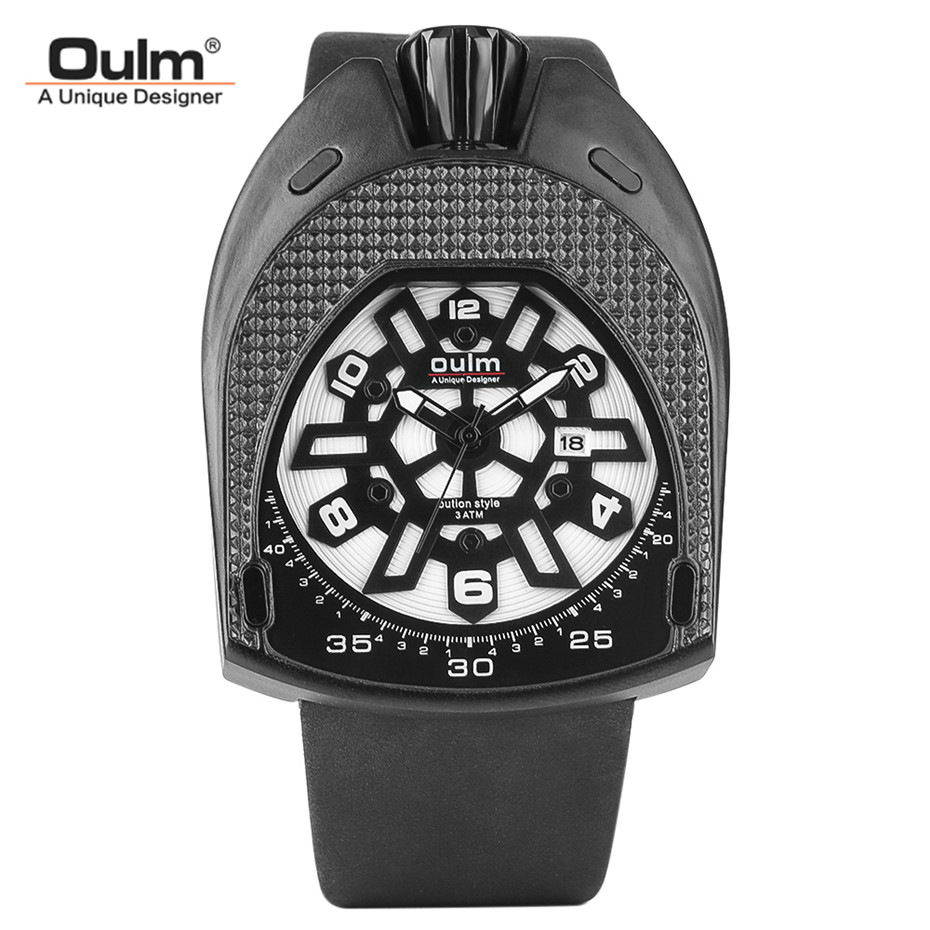 OULM Luxury Brand Oval Case Quartz Watch Men Unique Design Dial Man Wristwatches 30M Waterproof Leather Band Cool Clock Gifts 2017 luxury men s oulm watch sport relojes japan double movement square dial compass function military cool stylish wristwatches