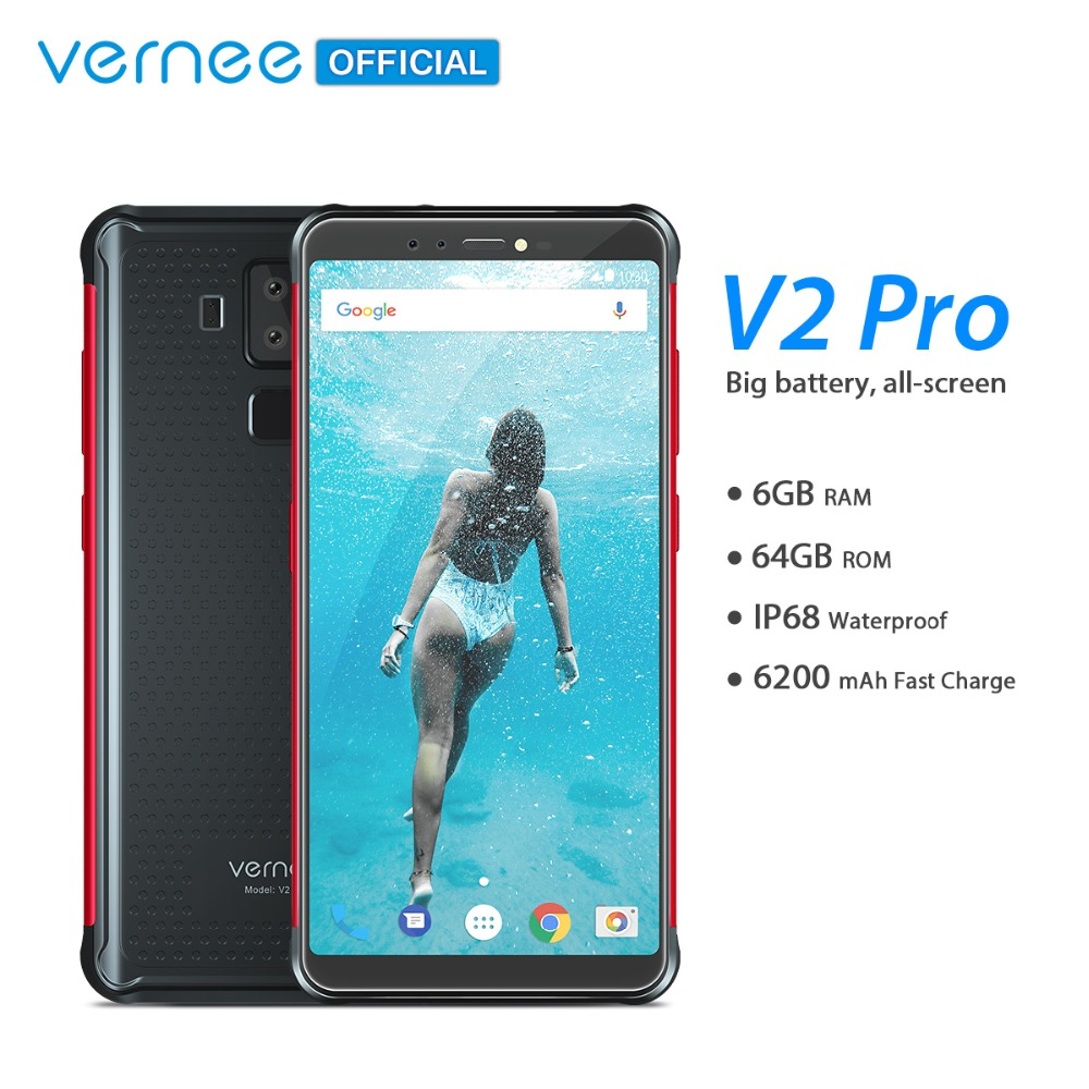 "Vernee V2 Pro IP68 Waterproof Smartphone 5.99"" FHD Face ID Global Network 6GB 64GB Four Cam NFC 6200mAh Android 8.1 Mobile Phone"