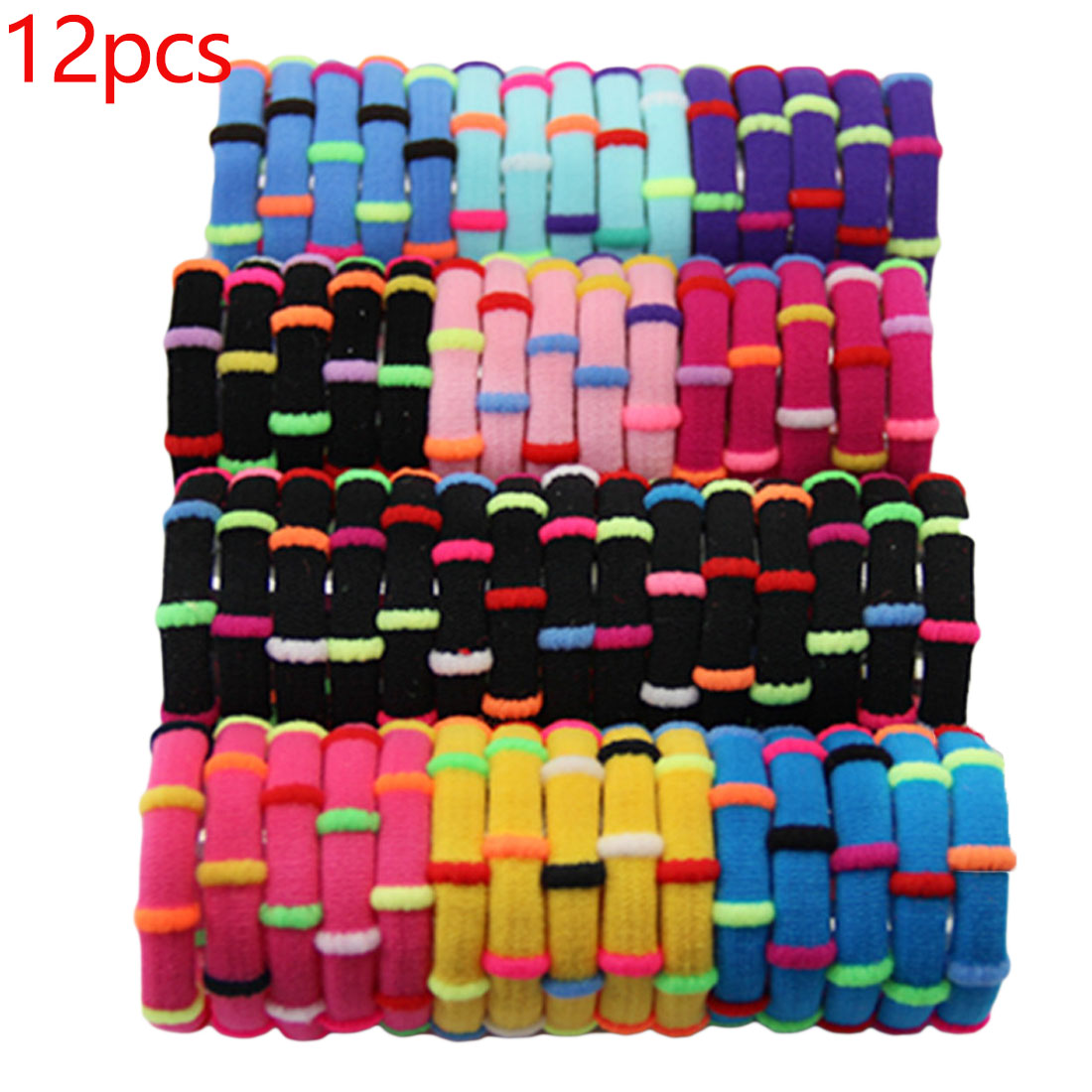1pack=12pcs Colorful Girls Rubber Headbands Elastic Hair Bands Bamboo Joint Creative Hair Ring Gum Holder Hair Accessories