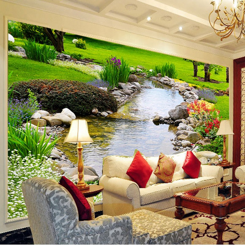 beibehang Chinese living room large mural wallpaper 3d stereoscopic wallpaper TV backdrop bedroom wall covering landscapes brook free shipping custom murals worn coloured wood wall mural bedroom living room tv backdrop wallpaper