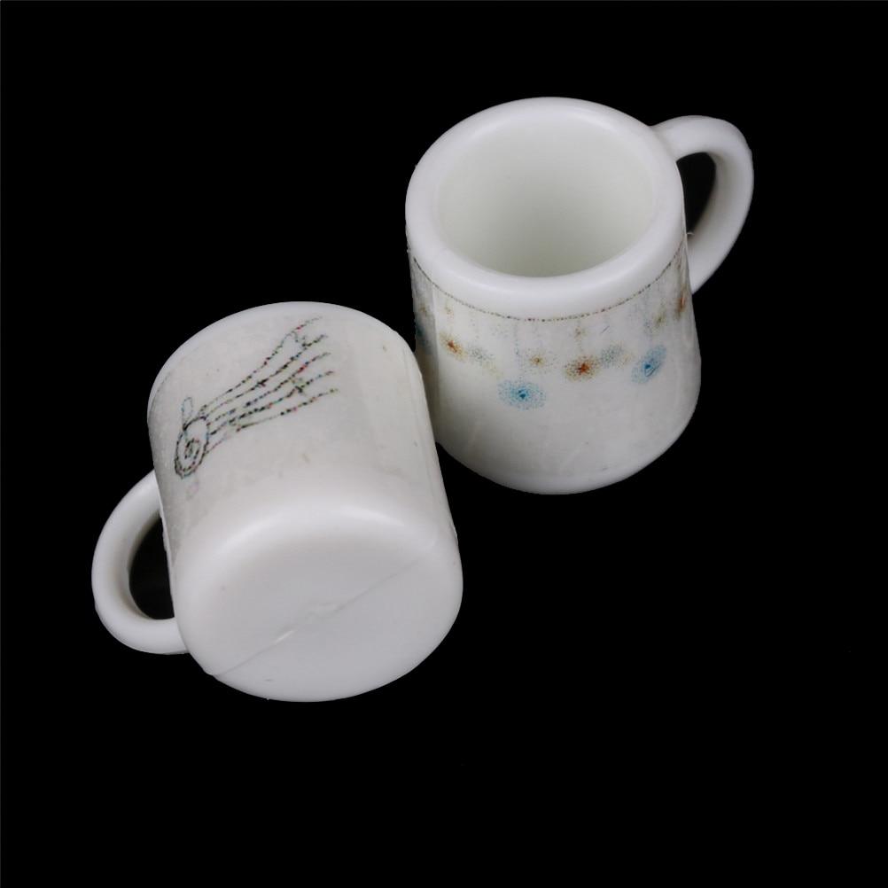 2 Dollhouse Miniature Ceramic Cups//Mugs of Coffee Set *Doll Mini Mug Drink Food