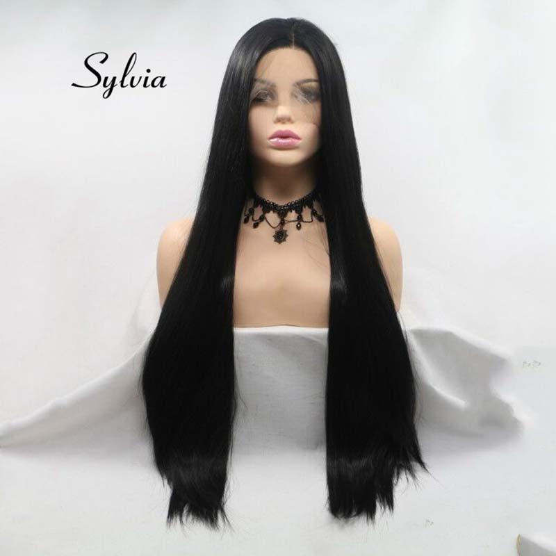 Sylvia 1B # perruque noire naturelle longue soyeuse perruques droites pour femmes Kanekalon cheveux synthétique dentelle avant perruque fibre résistante à la chaleur