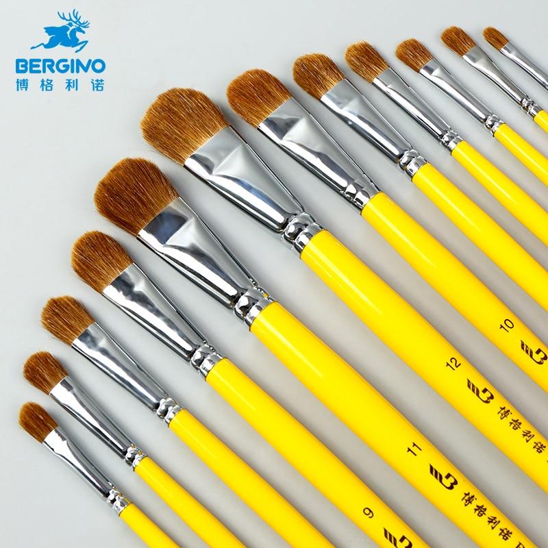BGLN 6Pcs Weasel Hair Watercolor Paint Brush Set Gouache Oil Painting Solid Wood Yellow Handle Paint Brush Pen Set Art Supplies