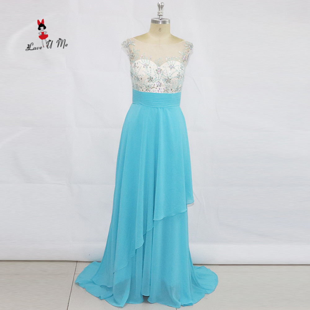 Straightforward Real Photo Baby Blue Luxury Prom Party Dresses 2017 Vestido De Formatura Long Evening Dress Formal Special Occasion Ballkleider To Win Warm Praise From Customers