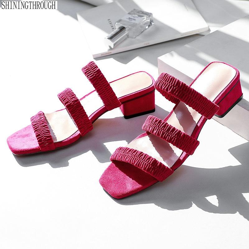 summer Women Slippers 3 5cm low square Heels Ladies Slides Women sweet Brand Mules Shoes Woman