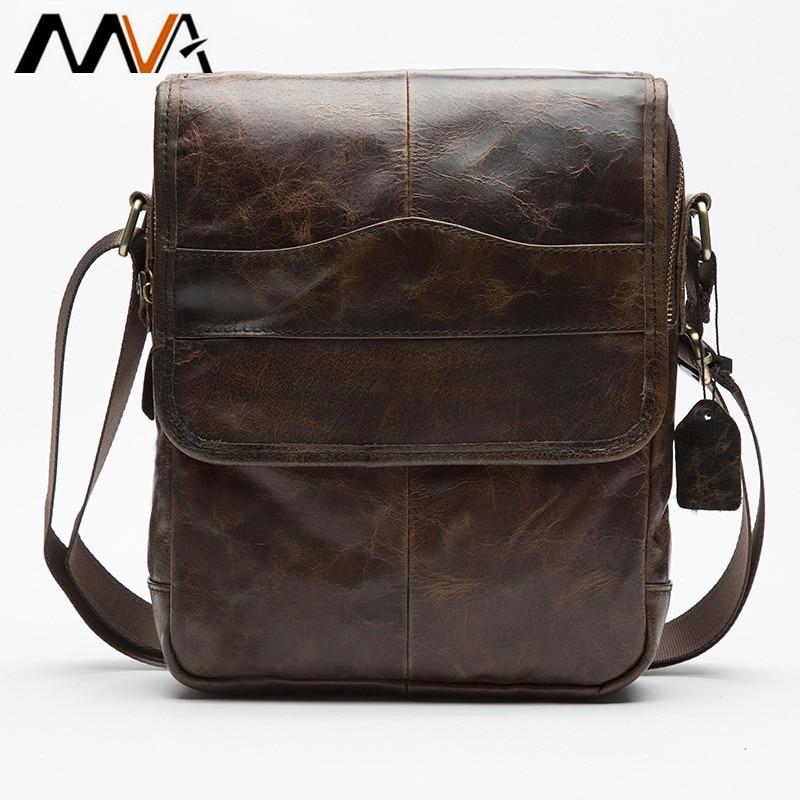 купить MVA Men's Bags Genuine Leather male Crossbody Bags strap Small Casual Flap Men Leather messenger bag men's shoulder bag по цене 2462.87 рублей