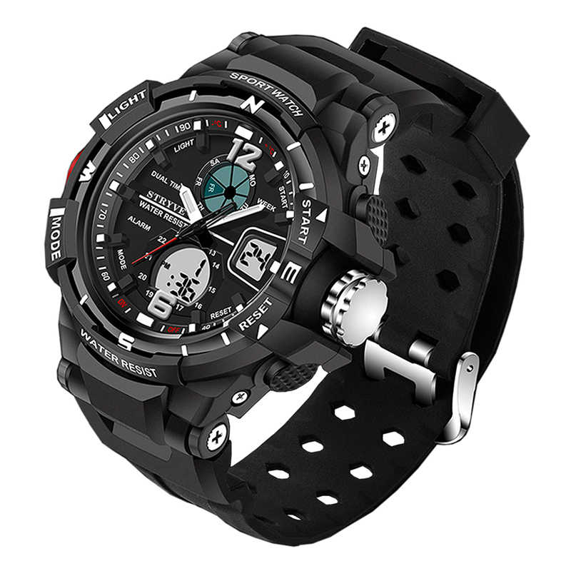 Stryve Brand Sport Watch Men Military Waterproof Men Luxury Dual Display Quartz Electronic LED Digital Watches relogio masculino