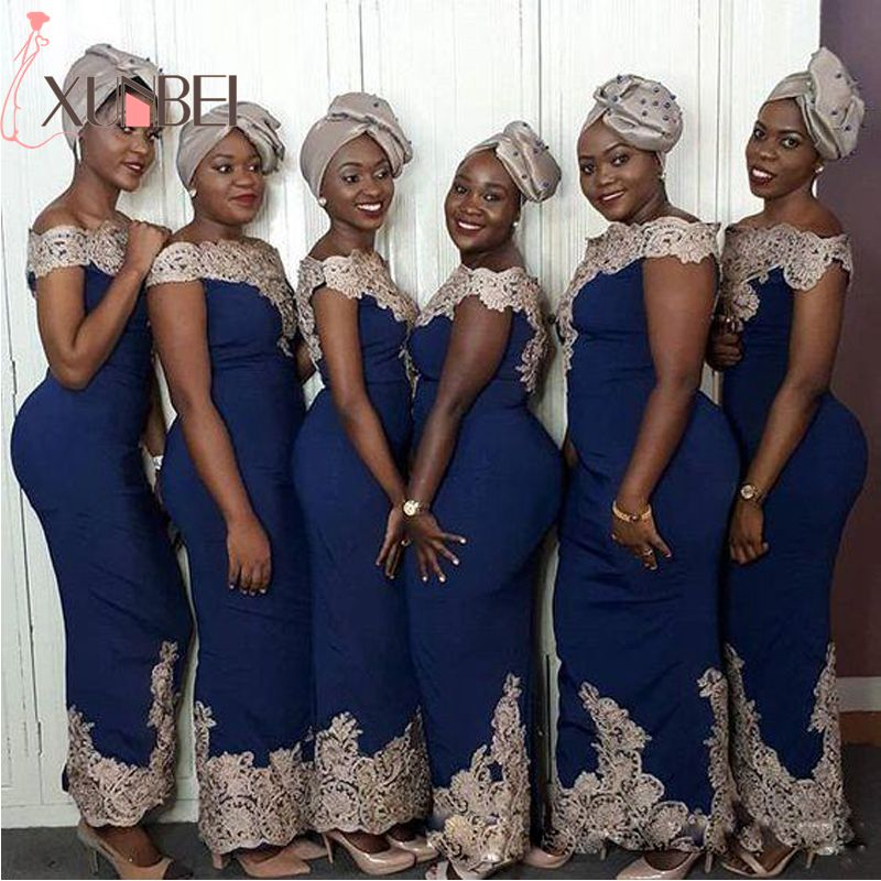 African Nigerian Mermaid Navy Blue Bridesmaid Dresses Long 2019 Off The Shoulder Gold Appliques Satin Dress For Wedding Party(China)