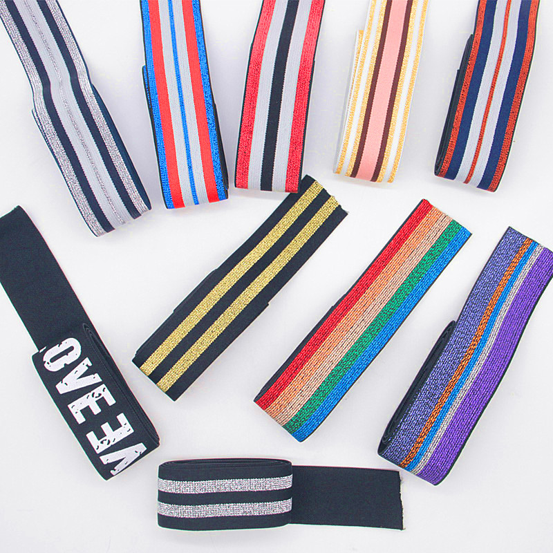 40MM Nylon Colorful Stripe Elastic Bands DIY Belt Ribbon Dress Pants Shoes Clothing Rubber 4cm Webbing Garment Sewing Accessory