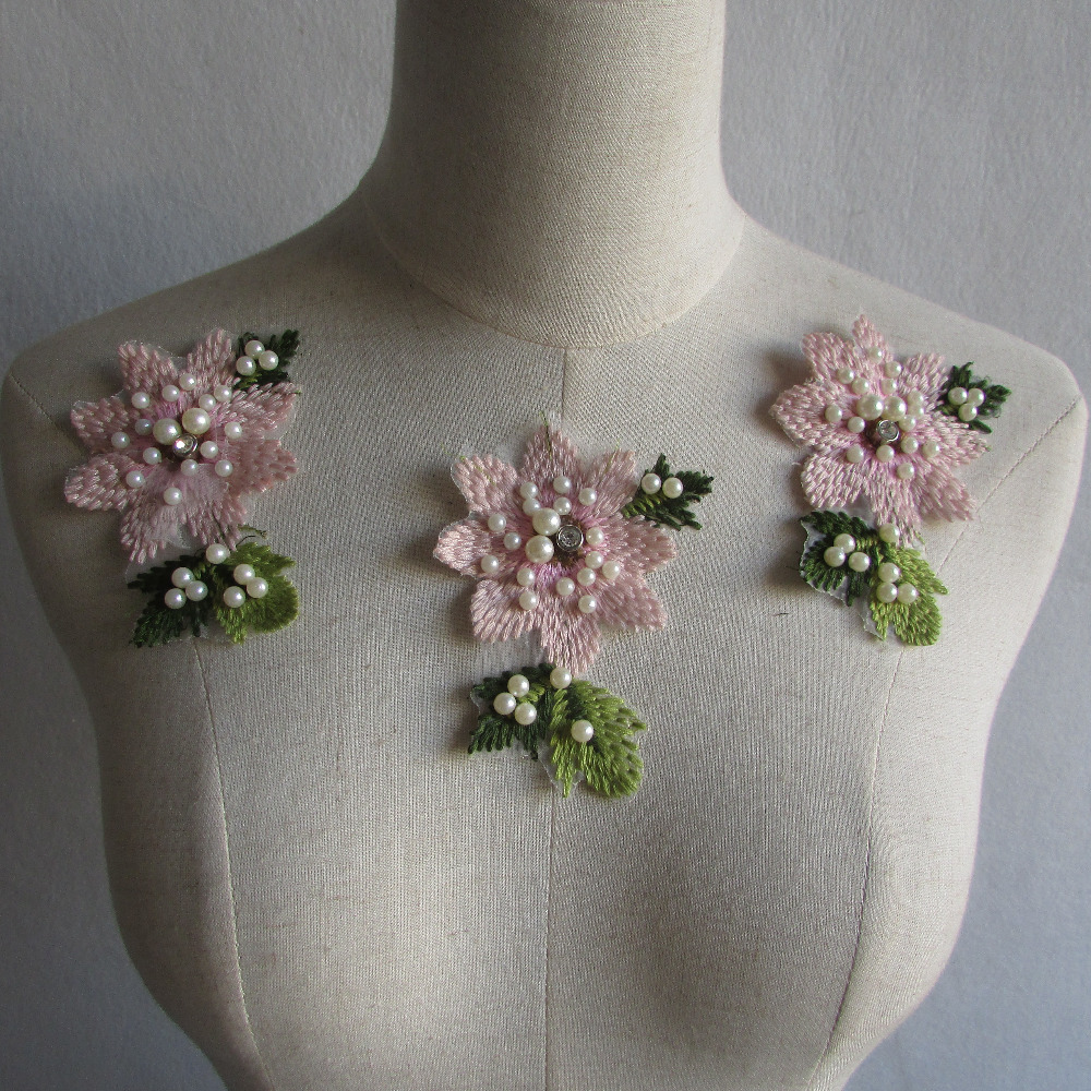 New style craft collar venise sequin floral embroidered
