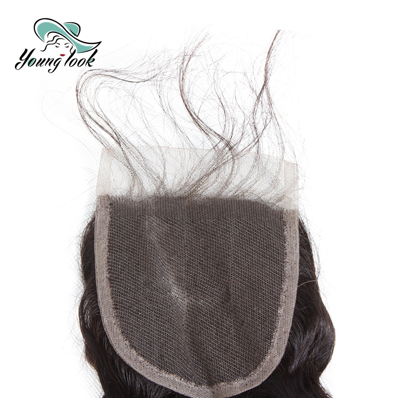 Young look Brazilian 100% Human Hair Loose Wave 8-20 Inch 4*4 Lace Closure Non- Remy Weaving Natural Color Free Shipping