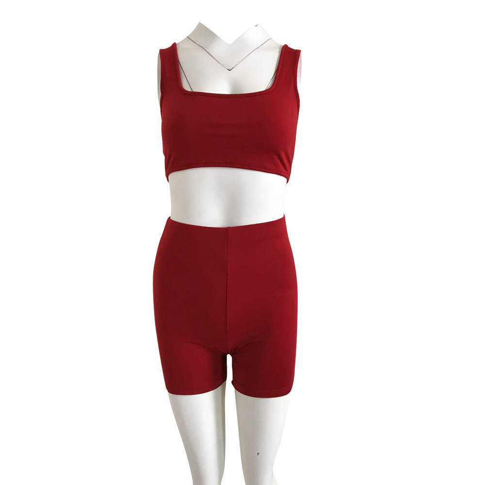 HAOYUAN 2 Piece Set Women Festival Clothes Crop Top Biker Shorts Sweat Suit Sexy Club Outfits Two Piece Tracksuit Matching Sets 21