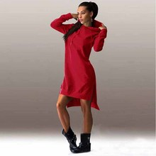 Wavaiov 2018 New Arrival Winter Dress Cotton O-neck Long Sleeve Fashion Casual Style Irregular Solid Hooded Women's Dress