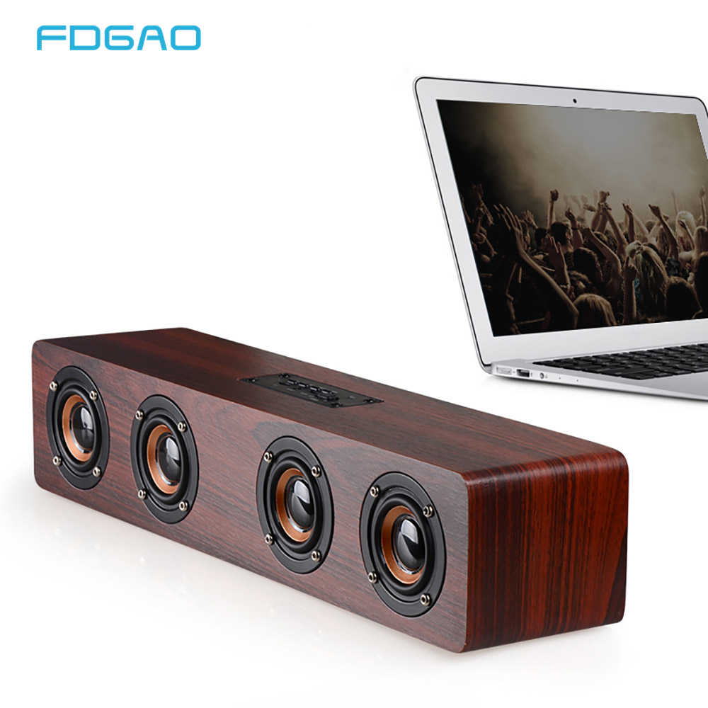 Kayu Bluetooth Nirkabel Speaker Super Bass Portable Home Theater Soundbar FM TF TV Subwoofer Bluetooth Kolom Kotak Pengeras Suara
