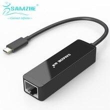 SAMZHE USB 3.1  USB Type C to RJ45 Gigabit Ethernet LAN Network Adapter in Black(USB-C & Thunderbolt 3 Port Compatible)