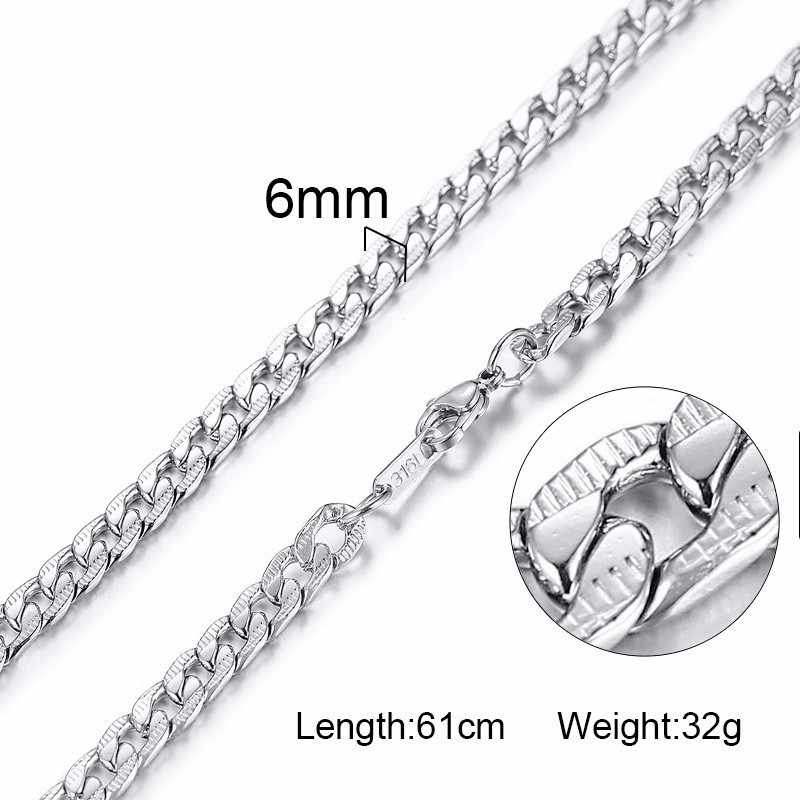 Fashion Jewelry Silver Chains Stainless Steel Men Necklace 3mm 4mm 6mm Curb Snake Cocoon Chains Women Accessories