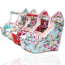 Printed Ladies Sandals Women Flower Sandals Summer Style Wedge Shoes Ladies T-strap Platform Sandals  Size 30-43