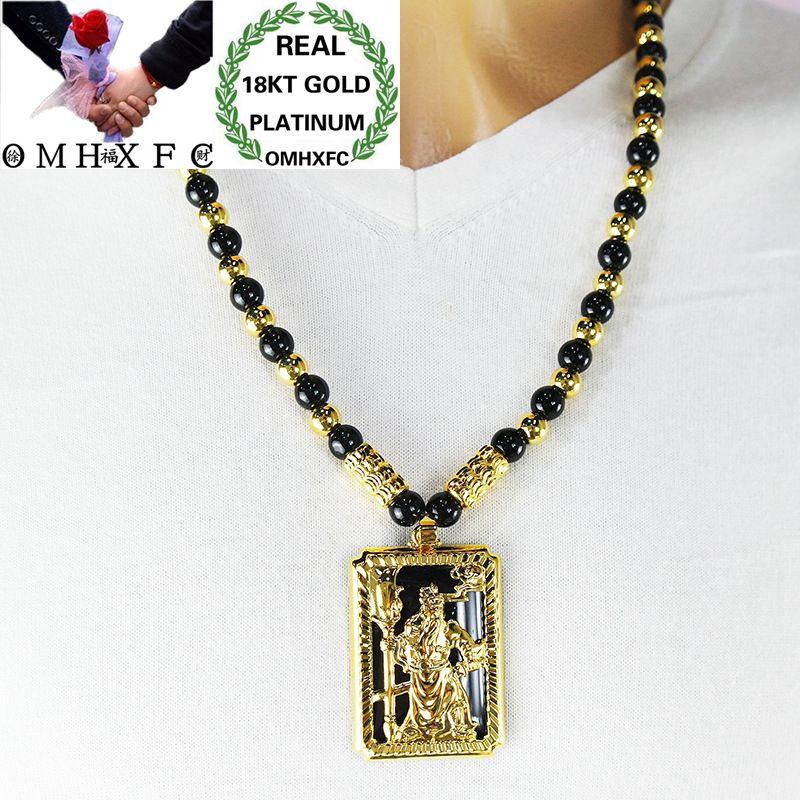 MHXFC gros mode européenne homme mâle fête cadeau de mariage Dragon Phoenix Rectangle opale véritable 18KT or pendentif collier NL164