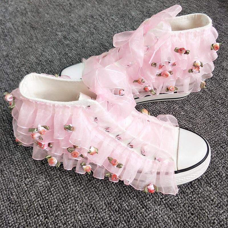 Chaussures Femmes De Chaussures Personnalisé Plat Blanc Exclusif Fées Fleur Mignon Dimensions Nouveau En Toile Haute Rose Trois Dentelle vOWqwR