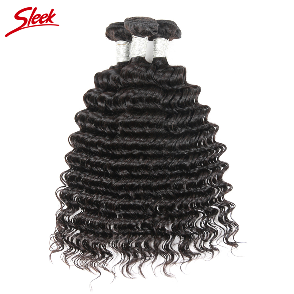 Sleek Hair Brazilian Deep Wave 3 Bundles Deal 100 % Remy Human Hair Weave Bundles Natural Color Hair Extention 10 To 30 Inch