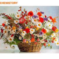 CHENISTORY рамка яркие цветы сделай сам краска по номерам ручная краска ed масляная краска ing Акриловая Краска на холсте для домашнего декора 60x75 с...