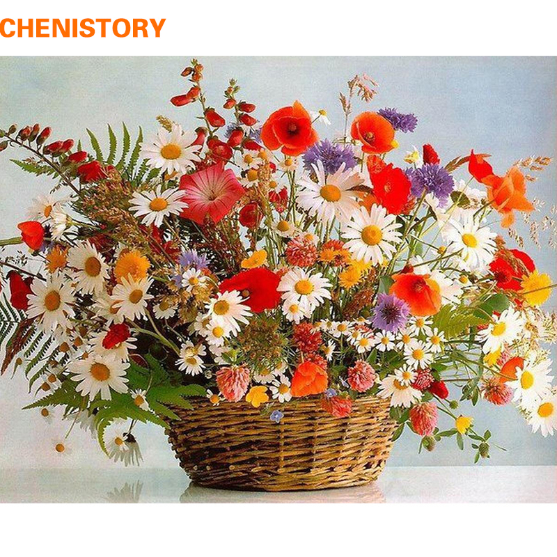 CHENISTORY Frame Vivid Flowers DIY Painting By Numbers Handpainted Oil Painting Acrylic Paint On Canvas For Home Decor 60x75cm