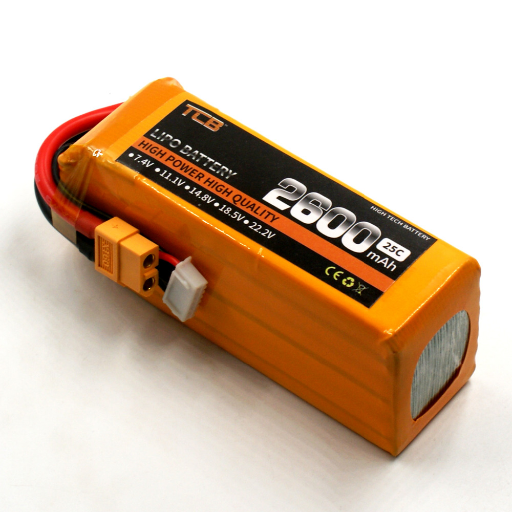 TCB RC lipo battery 22.2v 2600mAh 25C 6s RC airplane batteria drone car AKKU free shipping mos rc airplane lipo battery 3s 11 1v 5200mah 40c for quadrotor rc boat rc car