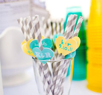 Free Shipping 1000PAIR/LOT Paper Straws Love Heart Sticker Colorful Paper Label Wedding Birthday Party Supplies