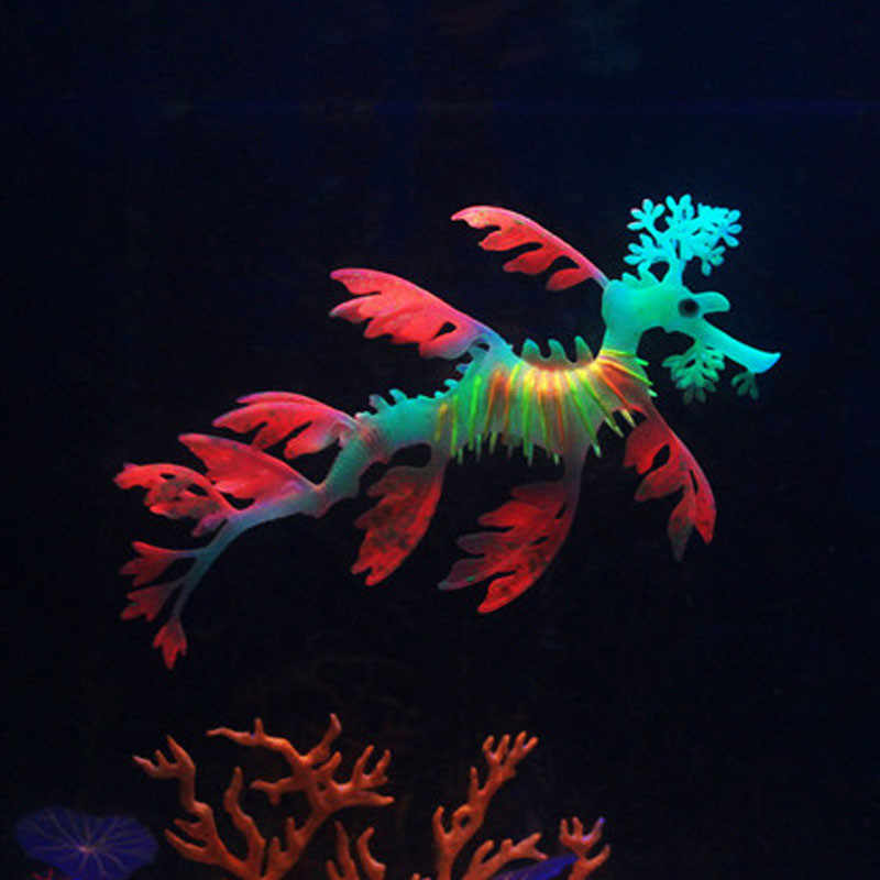 1 cái Aquarium Sea Dragon Glowing Nhân Tạo Silicone Fish Tank Decor Aquarium Trang Trí Ornament