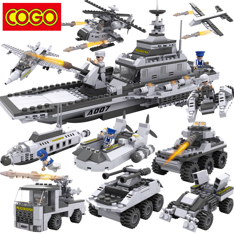 Cogo Aircraft Carrier Blocks Military Airplane Ship 8 in 1 Building Blocks 743+pcs Plastic Blocks Educational Toys For Children trumpeter model artwox 05727 military york u s city cv 8 aw20134 aircraft carrier deck