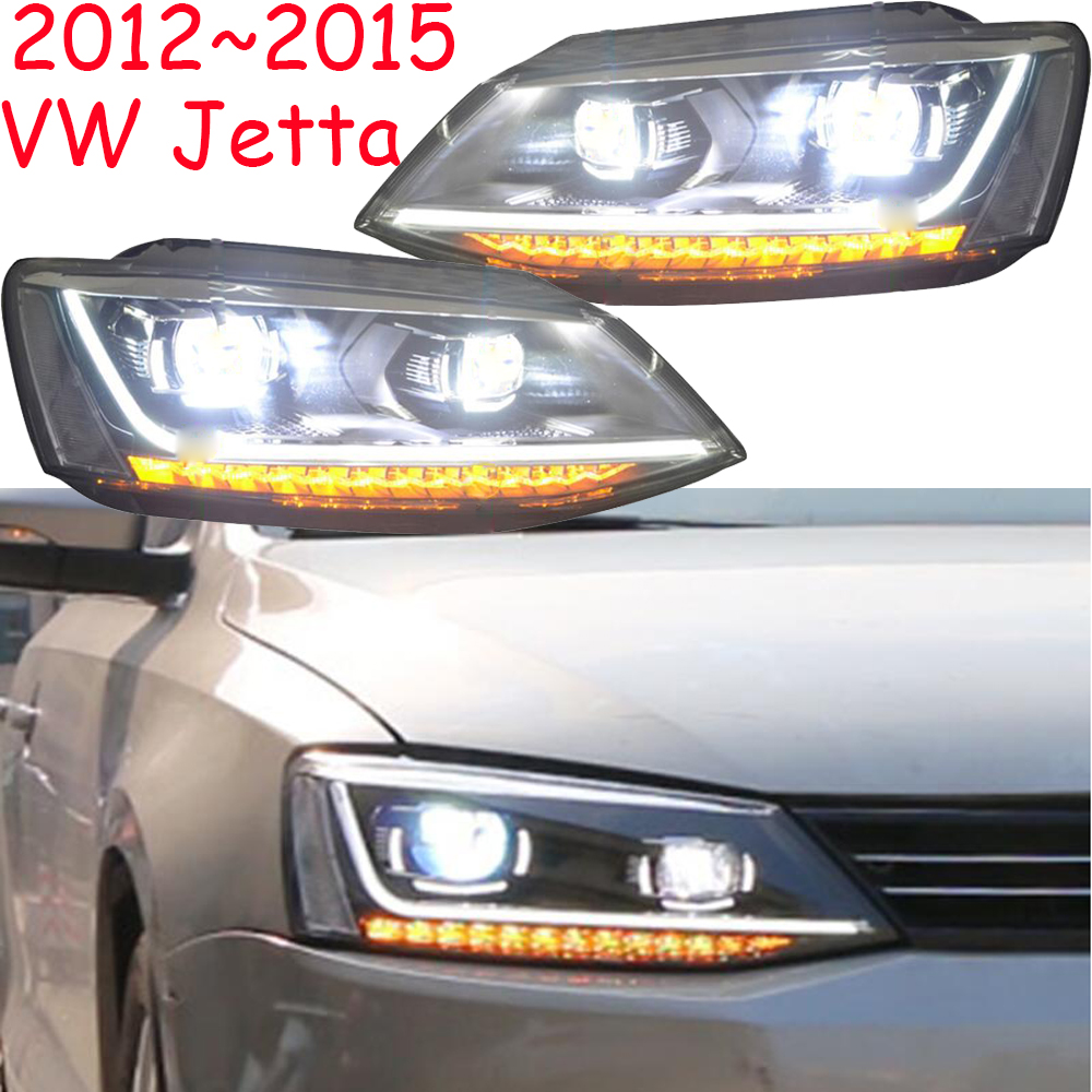 2pcs Tuning Cars Headlight For JettaMK6 Headlights Sagitar 2012 2013 2014 2015 LED DRL Running Lights Bi-Xenon Beam Fog Lights
