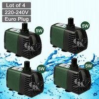 4 PCS,220V Submersible Water Pump 600LPH Fish Tank Pond Fall Hydroponic Aquarium Garden 5W