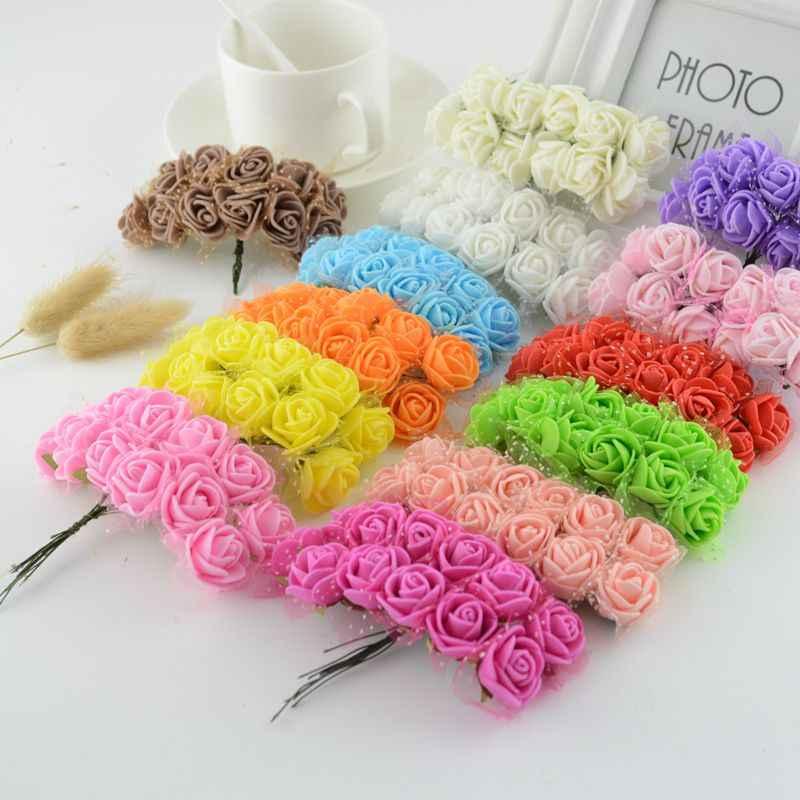 12 pièces Mini mousse Rose fleurs artificielles pour les fournitures de fête de mariage décoration de voiture fait à la main bricolage couronne décorative nuptiale faux