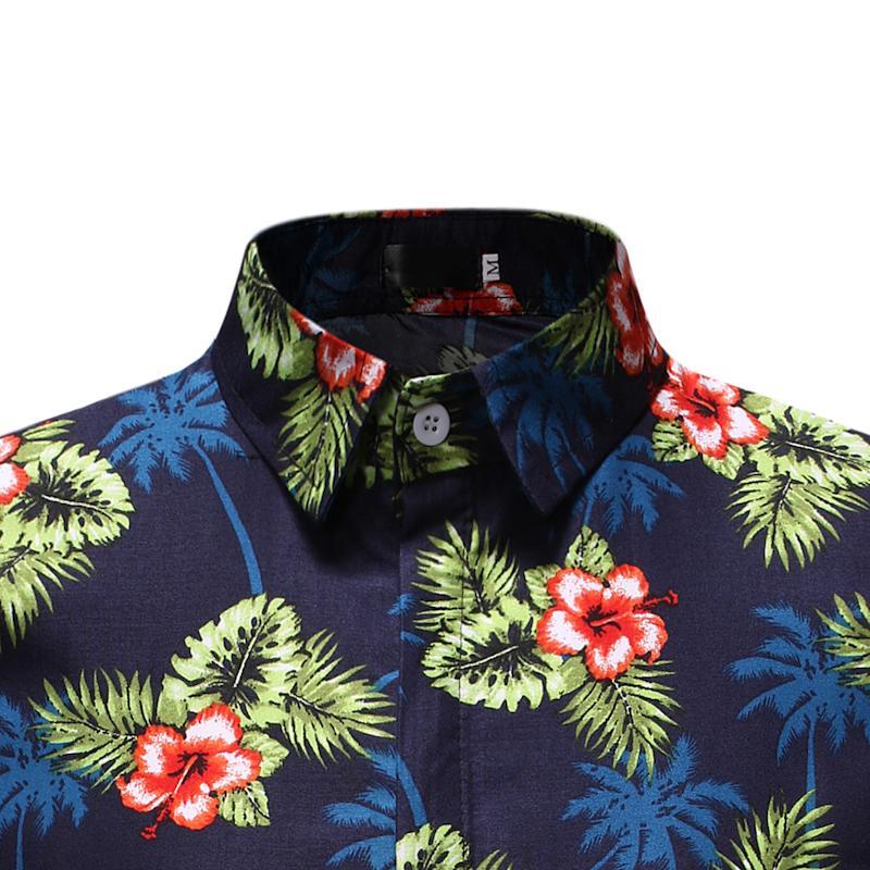 Hawaiian Beach Flower Shirt For Men Summer Fashion Floral Shirt Dress Short Sleeve Casual Blouse Men New