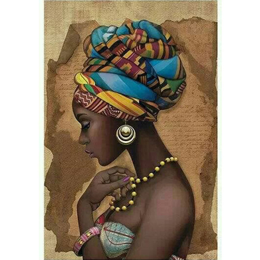 2017 DIY 5D diamond painting mosaic African girl pattern cross stitch suite, diamond embroidery, home decor gift ZC514