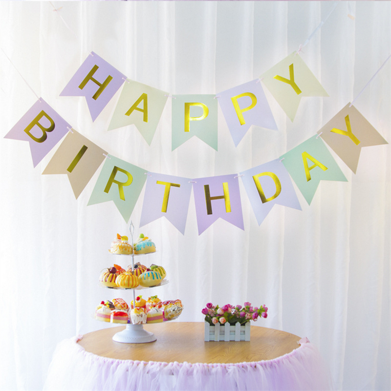 1 SET Swallowtail Paper Happy Birthday Bunting Banner Baby Shower Party Decor Letter Hanging Garlands Pastel Pink String Flags,9