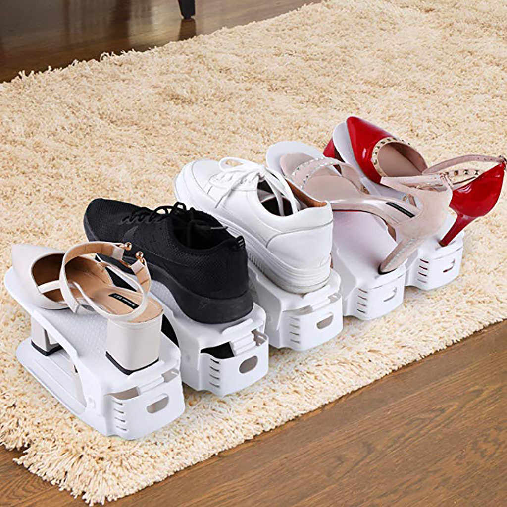 Creative Plastic Shoes Rack Organizer Space-Saving Storage Adjustable Durable Durable Footwear Rack Space Saving Shoebox