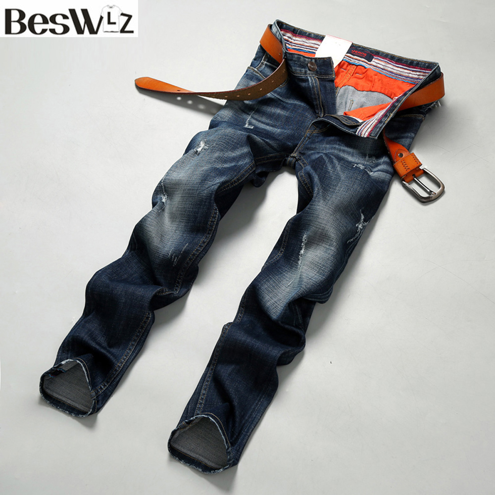 ФОТО Beswlz Men Denim Jeans Straight Slim Male Scratched Jeans Pants Casual Business Style Men Ripped Blue Jeans Homme 9506