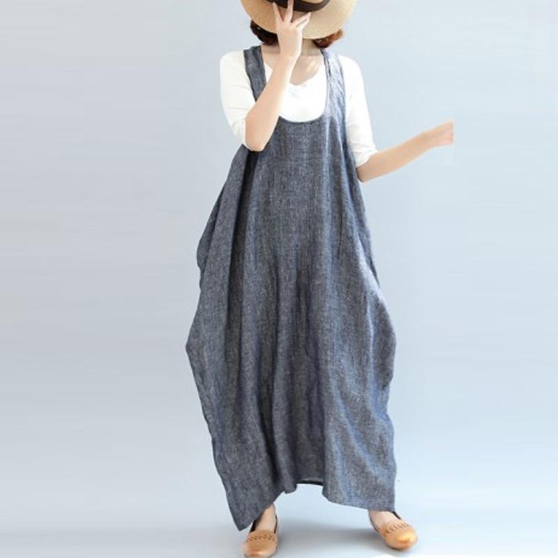 a5d66d73611 ... 2018 ZANZEA Women Summer Straps Sleeveless Solid Baggy Backless Long  Dungarees Dress Cotton Linen Party Beach Vestido Plus Size. -28%. Click to  enlarge
