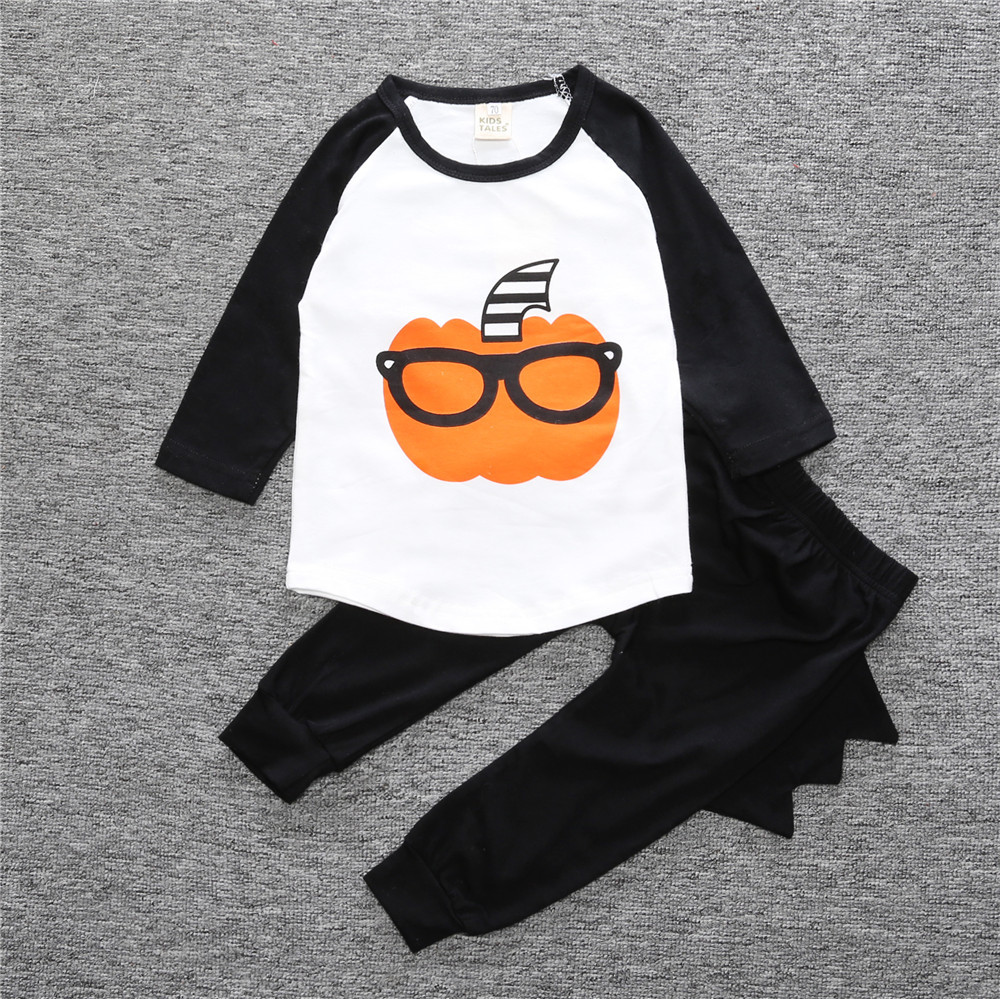 Pumpkin Baby Boys Clothes Suits Halloween Children 2PCS Clothing Sets Cotton Toddler Tee Shirts Pants Kids Outfits Sport Suits 4