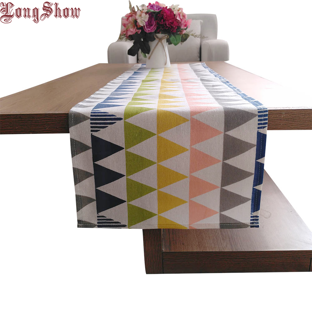 Fresh Yellow Board Flower Dot Pattern Wood Grain Geometric Printed 33x145cm Cotton Linen Table Runner