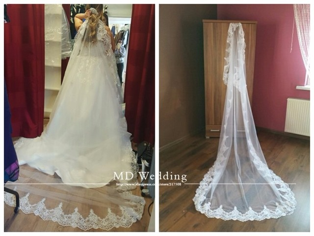 Real Photos 2017 4M White/Ivory Beautiful Cathedral Length Lace Edge Wedding Bridal Veil With Comb Wedding Accessories MD3084-4