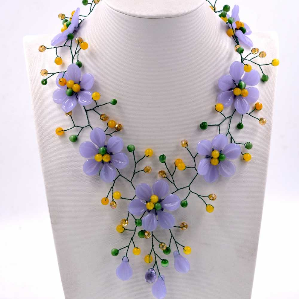 Noble Female Jewelry New Arrival purple stone yellow jades flower choker necklace women Hot selling