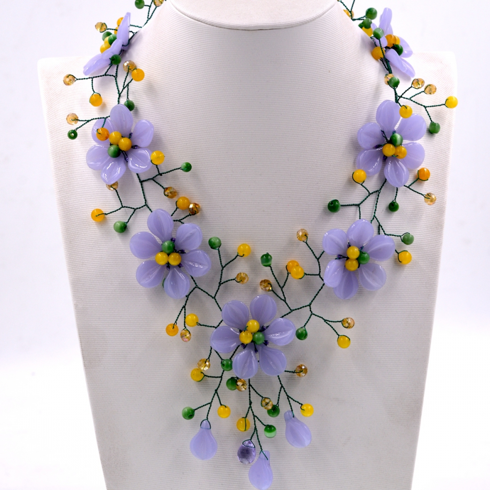 Noble Female Jewelry New Arrival purple stone yellow jades flower choker necklace women Hot sellingNoble Female Jewelry New Arrival purple stone yellow jades flower choker necklace women Hot selling
