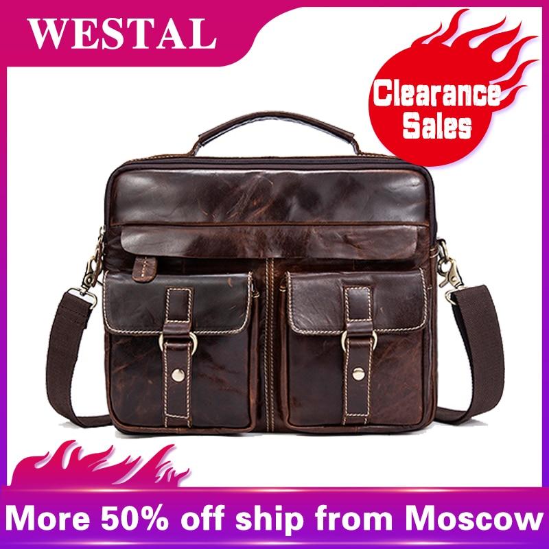 f712e4b866 WESTAL Clearance Sale Men's Genuine Leather Bag Vintage Crossbody Bags for Men  Messenger Bag Men Leather