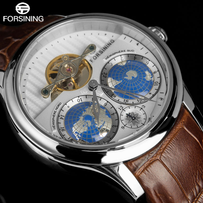 FORSINING Top Brand Business Mechanical Watch Men 30 M Waterproof Tourbillon Auto Wrist Watches 3D Earth Search Leather Band