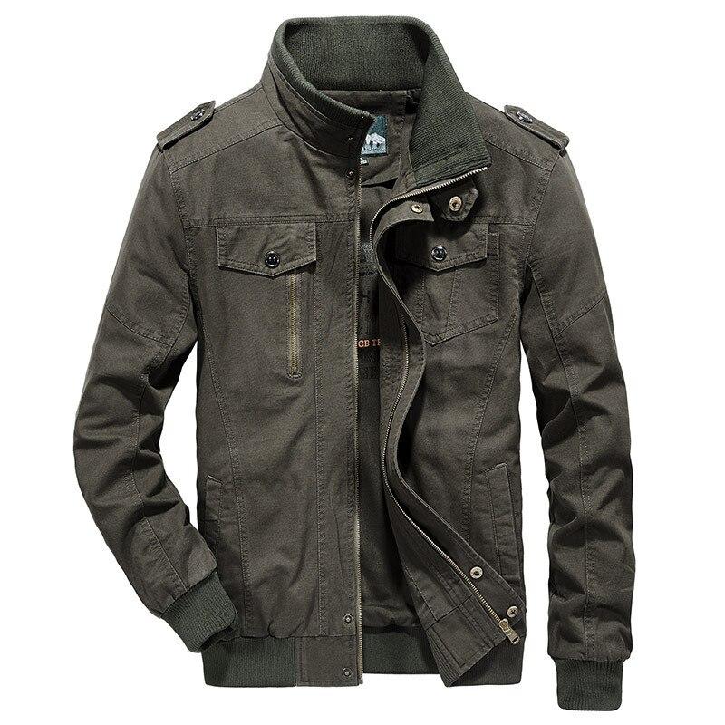 Erkek Kıyafeti'ten Ceketler'de Marka Sonbahar Ceket Erkekler Askeri Ceket Ceket Erkek Saf Pamuk Standı Yaka Ceketler Erkekler Artı Boyutu M 5XL Chaqueta Hombre'da  Grup 3