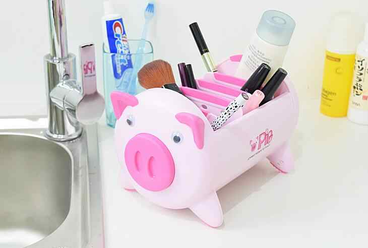 Pink Black Creative Cute Lovely Pig Cartoon Desk Storage Box Sundries Desktop Organizer Remote Control Pen Phone Container